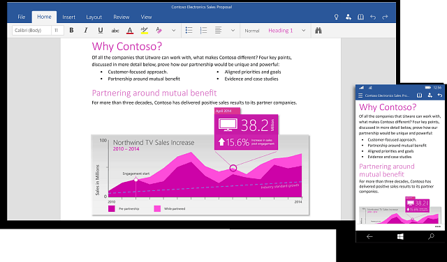 Microsoft Office 2016 Universal Apps pour Windows 10